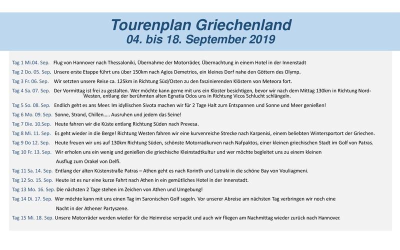 Tourenplan Griechenland 2019